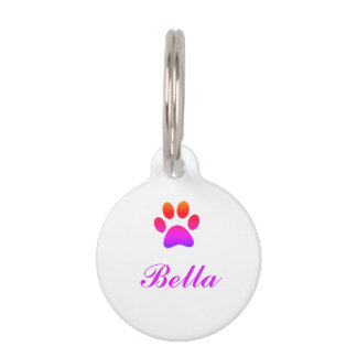 Rainbow Paw Print Pet Tag