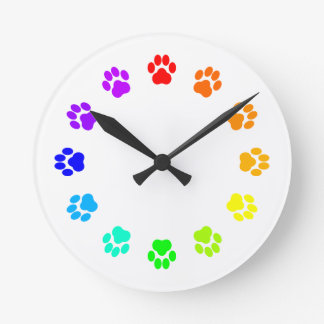 Rainbow Pawprint Clock