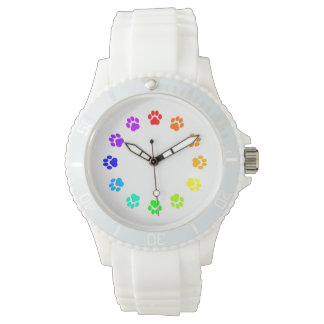 Rainbow Pawprint White Women's Watch