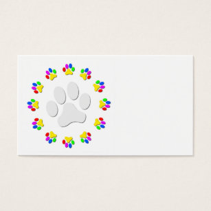 Pawprint business cards business card printing zazzle uk rainbow pawprints business cards colourmoves