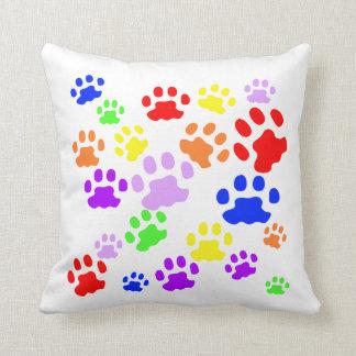 Rainbow pawprints cushion
