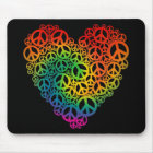 Rainbow Peace Heart Mouse Mat