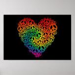 Rainbow Peace Heart Poster