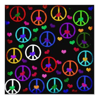 Rainbow Peace Hearts 13 Cm X 13 Cm Square Invitation Card