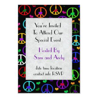 Rainbow Peace Hearts 9 Cm X 13 Cm Invitation Card