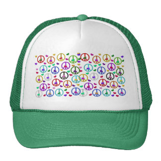 Rainbow Peace Hearts Trucker Hat