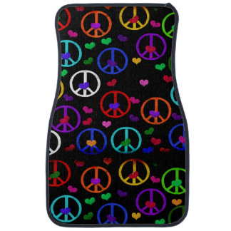 Rainbow Peace Hearts Car Mat