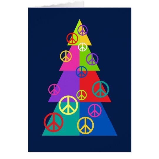 Rainbow Peace Holiday Tree Card