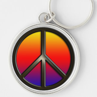 Rainbow Peace Silver-Colored Round Key Ring