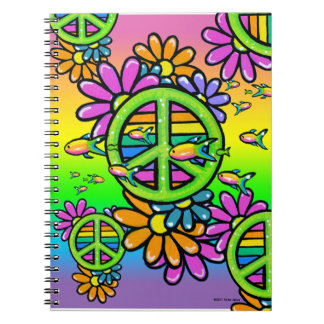 Rainbow Peace Psychedelic Flower Hippie Notebook
