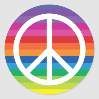 Rainbow Peace Sign Classic Round Sticker