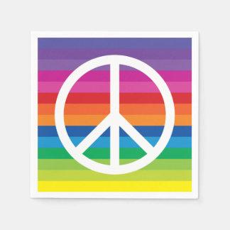 Rainbow Peace Sign Disposable Serviettes
