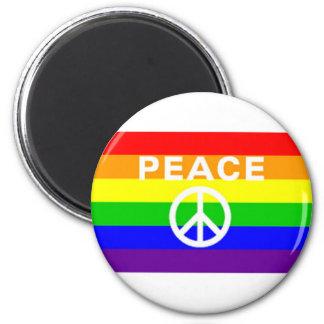 Rainbow peace sign flag fridge magnets