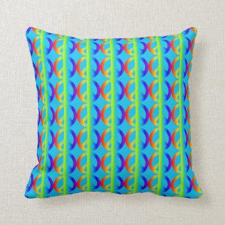 Rainbow Peace Sign Pattern on Aqua Cushion