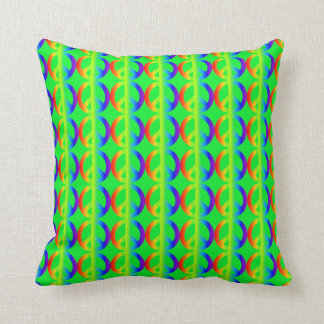 Rainbow Peace Sign Pattern on Bright Green Cushion