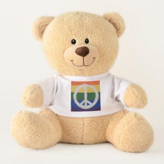 Rainbow Peace Sign Plush Teddy Bear