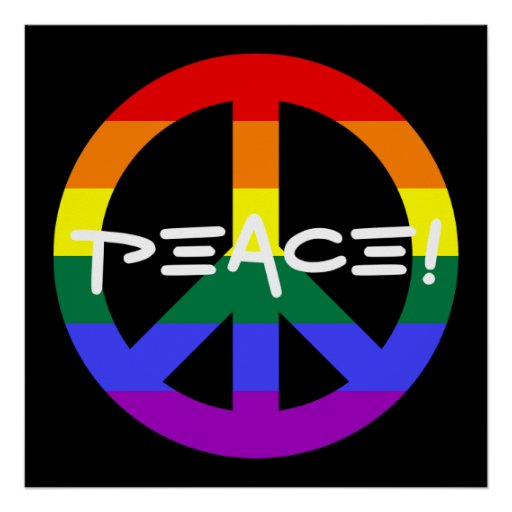 Rainbow Peace Sign Poster