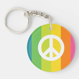 Rainbow Peace Sign Single-Sided Round Acrylic Key Ring
