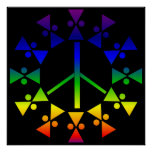 Rainbow Peace Sign Spiral Poster