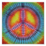 Rainbow Peace Sign Tie Dye Posters