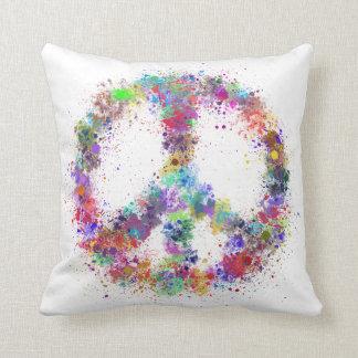 Rainbow Peace Sign   Watercolor Splatter Cushion