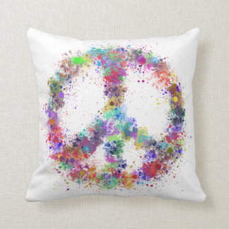 Rainbow Peace Sign   Watercolor Splatter Throw Pillow
