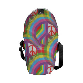 Rainbow Peace Signs Messenger Bags