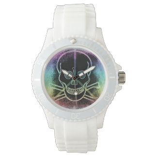 rainbow peace Skull Wristwatch