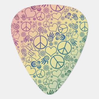 Rainbow Peace Symbol Design Pattern Guitar Pick