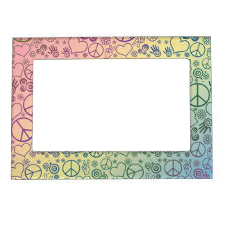 Rainbow Peace Symbol Design Pattern Photo Frame Magnet