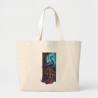 Rainbow Peackock Jumbo Tote Bag