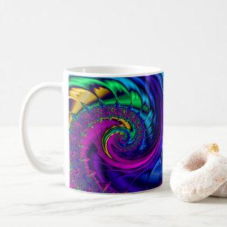 Rainbow Peacock Coloured Fractal Art Swirl Coffee Mug