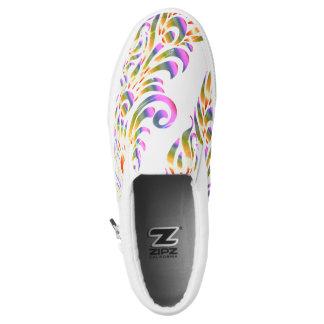 Rainbow Peacock Feather Abstract Slip On Sneaker