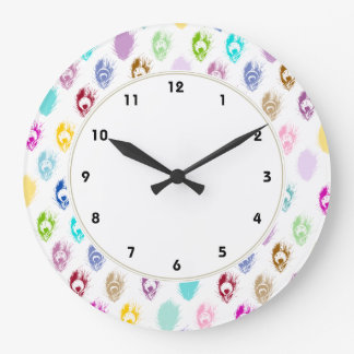 Rainbow Peacock feathers print Large Clock