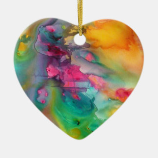 Rainbow peacock heart Christmas tree ornament