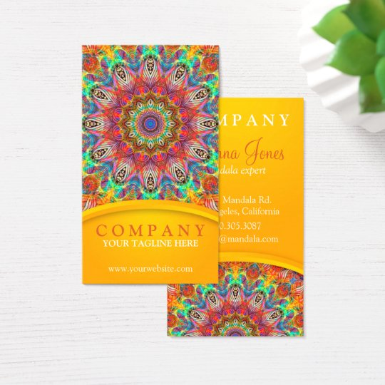 Rainbow Peacock mandala - yellow Business Card