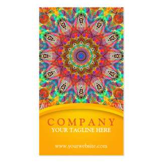 Rainbow Peacock mandala - yellow Pack Of Standard Business Cards