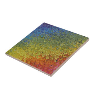 Rainbow Peacock Marble Tile