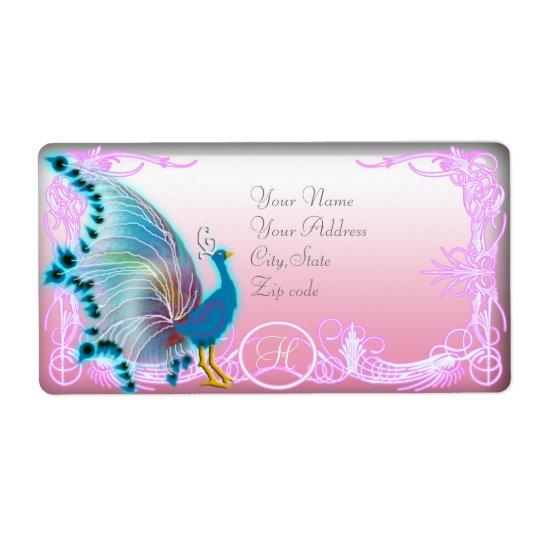 rainbow peacock monogram shipping label