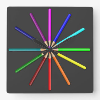 rainbow pencils square wall clock