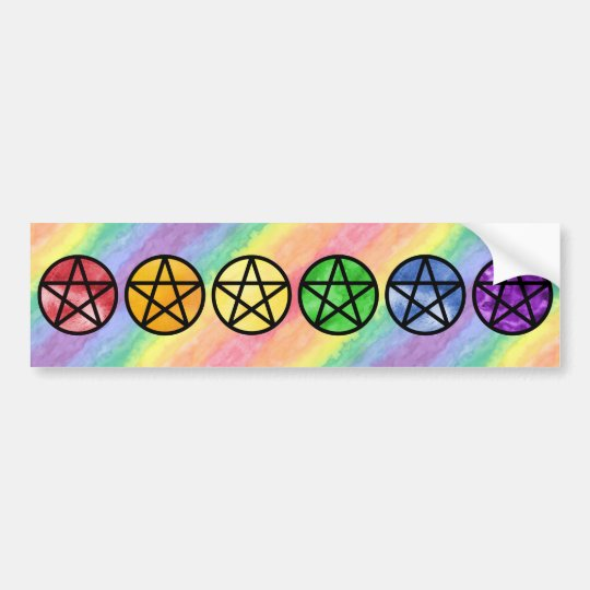 Rainbow Pentacle Bumper Stickers