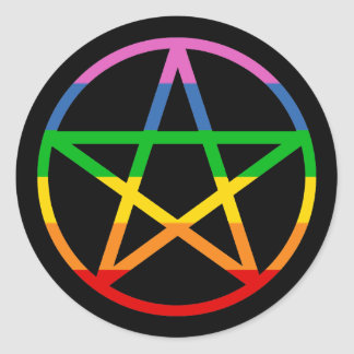 Rainbow Pentacle Classic Round Sticker