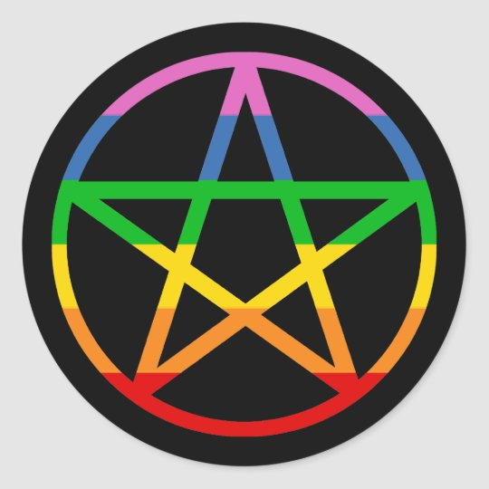 Rainbow Pentacle Classic Round Sticker
