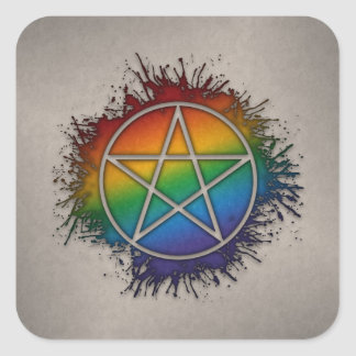 Rainbow Pentacle Square Sticker