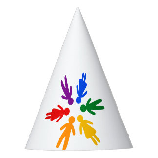 Rainbow People Circle Party Hat