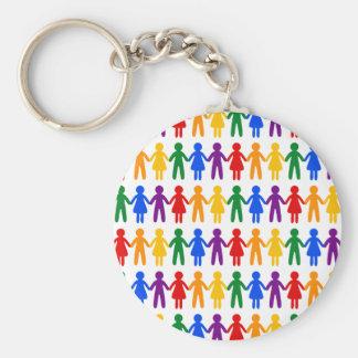 Rainbow People Pattern Basic Round Button Key Ring