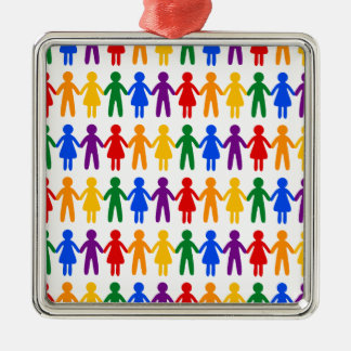 Rainbow People Pattern Christmas Ornament