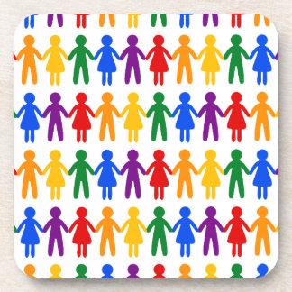 Rainbow People Pattern Coaster