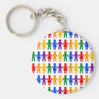 Rainbow People Pattern Key Ring