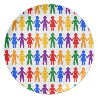 Rainbow People Pattern Plate
